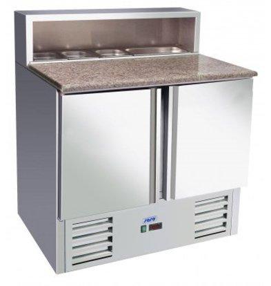 Saro Pizza Workbench - RVS - zwei Türen - 90x70x (h) 110cm - Mit 5x 1/6 GN