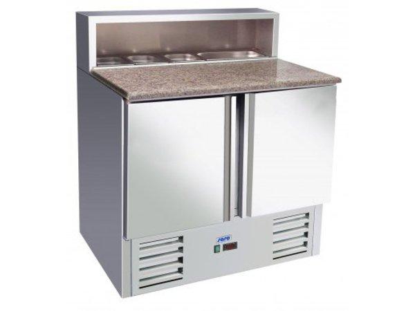 Saro Pizzawerkbank - RVS - 2 deurs - 90x70x(h)110cm - Met 5x 1/6 GN