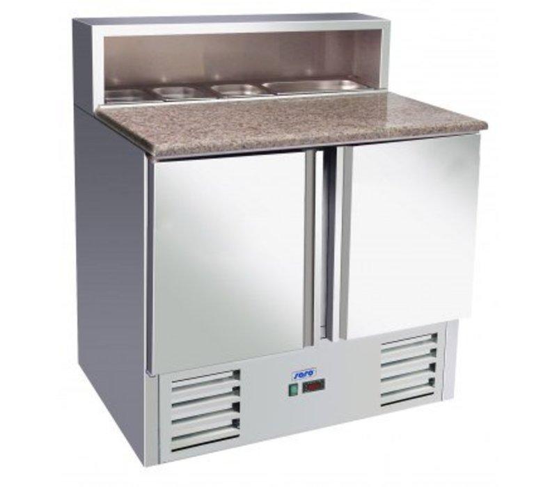 Saro Pizza Workbench - SS - 2 doors - 90x70x (h) 110cm - With 5x 1/6 GN