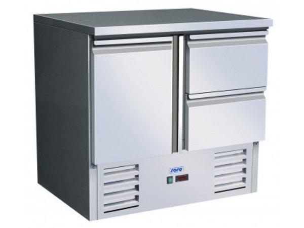 Saro Koelwerkbank - RVS - 90x70x(h)85/88cm - 1 deur+2 lades