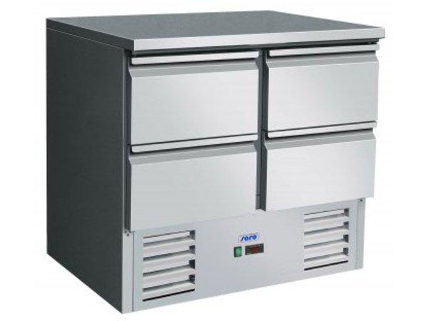 Saro Koelwerkbank - RVS - 4 lades - 90x70x(h)85-88cm