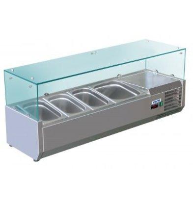 Saro Kühlvitrine Design mit Glasplatte - 3x 1/3 + 1x 1/2 GN oder 6 x 1/6 + 1x 1/2 GN - 120x38x (H) 43.5 cm