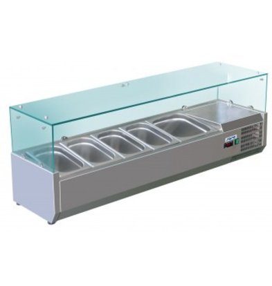 Saro Refrigerated display case Stainless steel design with Glass Top - 4x 1/3 1/2 + 1x or 8x GN 1/6 + 1x 1/2 GN -140x38x (H) 43,5cm