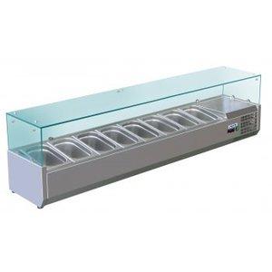 Saro Opzetkoelvitrine met Glas Top - 8x 1/3 GN of 16x 1/6 GN - 180x38x(H)43,5 cm