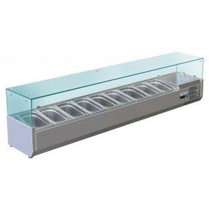 Saro Opzetkoelvitrine met Glas Top -  9x 1/3 GN of 18x 1/6 GN - 200x38x(H)43,5 cm