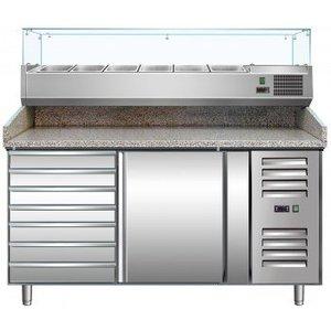 Saro Pizzawerkbank - RVS - 1 deur en 7 lades - 151x80x(h)99cm - Met 6x 1/3 GN en Glazen Bovenkant - 2 jaar garantie
