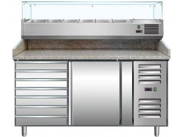 Saro Pizza Workbench - SS - 1 door and 7 drawers - 151x80x (h) 99cm - With 6 x 1/3 GN and Glass Top - 2 years warranty