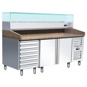 Saro Pizza Workbench - SS - 1 door and 7 drawers - 203x80x142cm