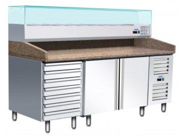 Saro Pizza Workbench - SS - 1 door and 7 drawers - 203x80x142cm