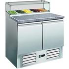 Saro Pizza Workbench - RVS - two doors - 90x70x (h) 118cm - Granite countertop + Glasvitrine - DELUXE