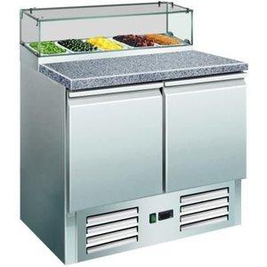 Saro Pizza Workbench 2 Doors - Granite countertop + Glass Showcase - DELUXE - 900 (b) x700 (d) x1180 (H) mm