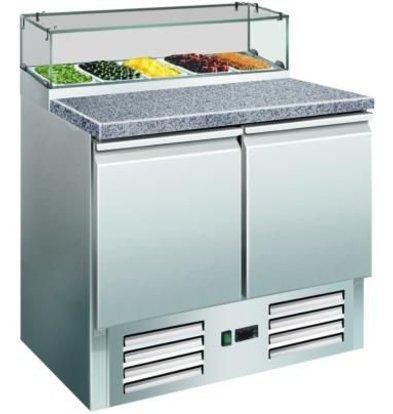Saro Pizza Workbench - RVS - zwei Türen - 90x70x (h) 118cm - Granit Arbeitsplatte + Glasvitrine - DELUXE