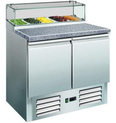Saro Pizzawerkbank - RVS - 2 deurs - 90x70x(h)118cm - Graniet Werkblad + Glasvitrine - DELUXE