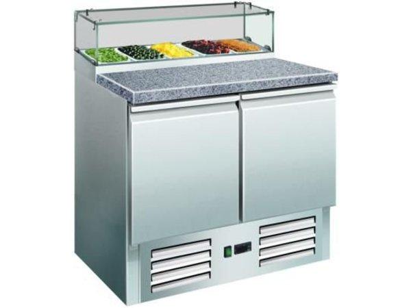 Saro Pizzawerkbank 2 Deurs - Graniet Werkblad + Glasvitrine - DELUXE - 900(b)x700(d)x1180(h)mm
