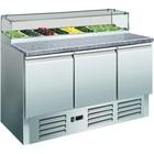 Saro Pizza Workbench - RVS - 3 Türen - 137x70x (h) 118cm - 8c 1/6 GN und Glasplatte