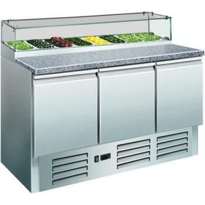 Saro Pizza Workbench - Stainless Steel - 3 door - 137x70x (h) 118cm - 8c 1/6 GN and glass top
