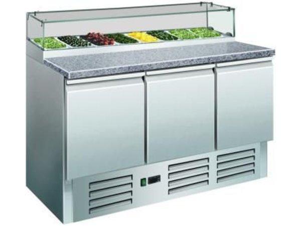 Saro Pizzawerkbank - RVS - 3 deurs - 137x70x(h)118cm - met 8c 1/6 GN en Glazen bovenkant