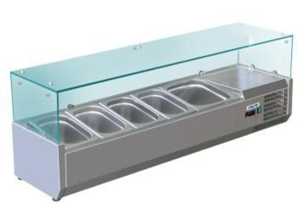Saro Opzetkoelvitrine RVS met GlasTop - 3x 1/2 GN of 6x 1/4 GN - 140x33,5x(H)43,5 cm