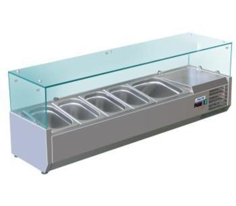 Saro Kühlvitrine Edelstahl-Ausführung mit Glastop - 3 x 1/2 GN oder 6 x 1/4 GN - 140x33,5x (H) 43.5 cm