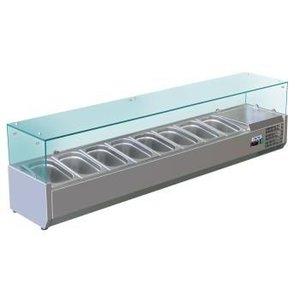 Saro Refrigerated display case design - 9x 1/4 GN - 180x33,5x (H) 43.5 cm