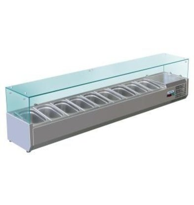 Saro Refrigerated display case design with Glass Top - 5x or 10x 1/2 GN 1/4 GN - 200x33,5x (H) 43.5 cm