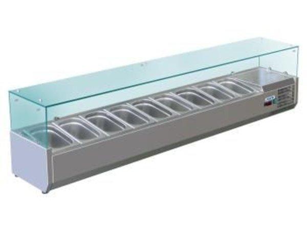 Saro Opzetkoelvitrine met Glas Top - 5x 1/2 GN of 10x 1/4 GN - 200x33,5x(H)43,5 cm