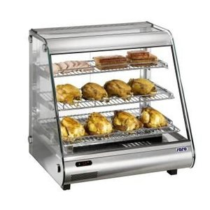 Saro Warming Vitrine RVS - 3 Roosters - 2 Schiebefenster - LED-Beleuchtung - 860x580x (h) 700mm