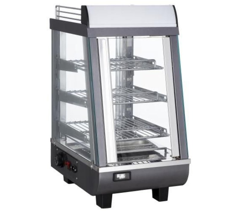 Saro Warming Vitrine RVS - 3 Roosters - 1 Schieben Square - LED-Beleuchtung - 345x484x (h) 663mm