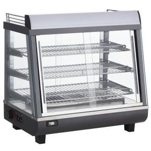 Saro Warming Vitrine RVS - 3 Roosters - Both Side Sliding window - LED Lighting - 675x484x (h) 663mm