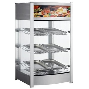 Saro Warming Showcase stainless steel -3 Roosters - Rear Side folding door - 97 Liter - 460x448x (h) 785mm