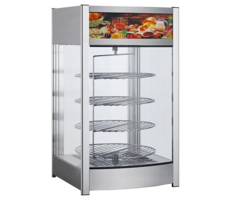 Saro Warming Showcase SS - 4 Rotating Roosters - Rear Side Swing door - 97 Liter - 460x448x (h) 785mm