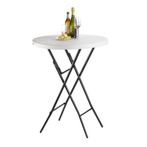 Saro Stainless Steel Round Bar table Folding - DELUXE - 110 (h) x80øcm