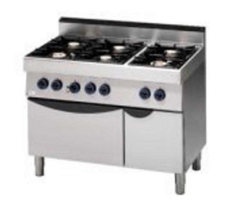 Saro Gasfornuis 6 Pits + Elektrische Oven | 400V | 1100x700x(H)850mm