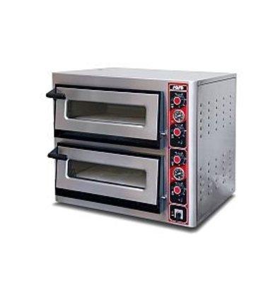 Saro Pizza Oven Elektrisch Dubbel   2x 4 Pizza's Ø30cm   400V   4,4kW   890x710x(H)440mm