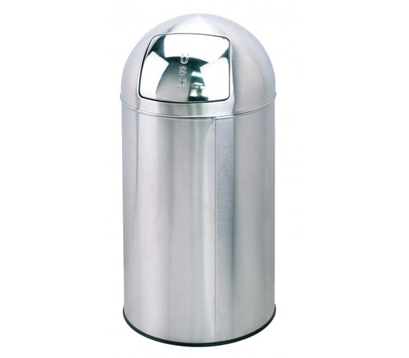 Saro Stainless steel waste bin with push-lid - 76cm high
