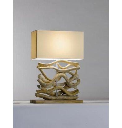 Saro Tischlampe Serie Zenjoy | Modell AHIGA | Holz Baumwolle | 40W | 400x200x (H) 595mm