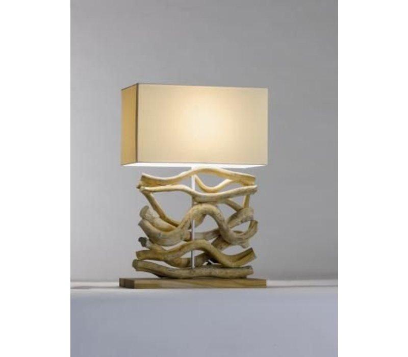 Saro Table Lamp Series Zenjoy | Model AHIGA | Wood Cotton | 40W | 400x200x (H) 595mm