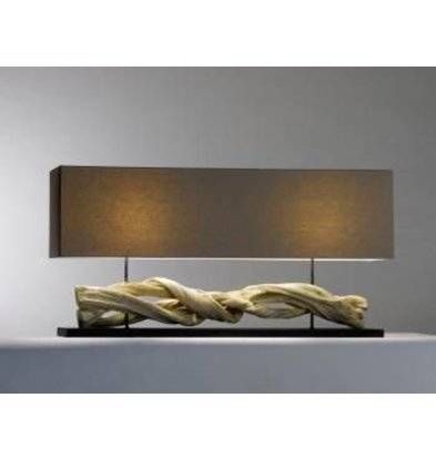 Saro Tischlampe Serie Zenjoy | Modell INOLA | Holz / Baumwolle | 40W | 1150x250x (H) 570mm