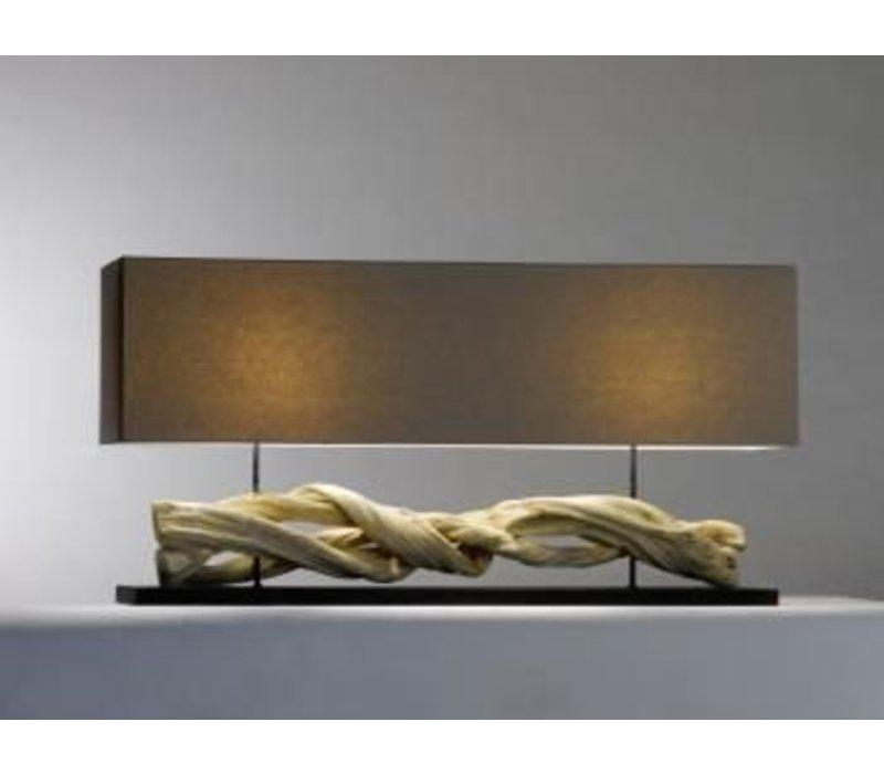 Saro Tischlampe Serie Zenjoy   Modell INOLA   Holz / Baumwolle   40W   1150x250x (H) 570mm