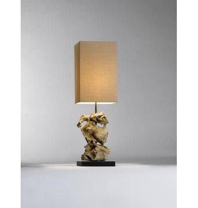 Saro Tafel Lamp Series Zenjoy | Model MAGENA | Hout/Katoen | 40W | 220x220x(H)715mm