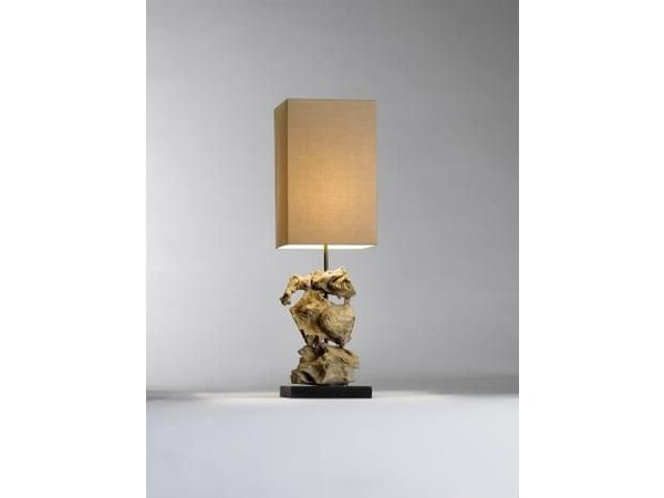 Saro Tischlampe Serie Zenjoy | Modell Magena | Holz / Baumwolle | 40W | 220x220x (H) 715mm