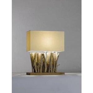 Saro Tischlampe Serie Zenjoy | Modell PACO | Holz / Baumwolle | 40W | 400x200x (H) 495mm