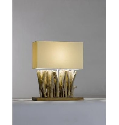 Saro Tafel Lamp Series Zenjoy | Model PACO | Hout/Katoen | 40W | 400x200x(H)495mm