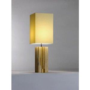 Saro Tischlampe Serie Zenjoy | Modell Halona | Holz Baumwolle | 40W | 220x220x (H) 675mm