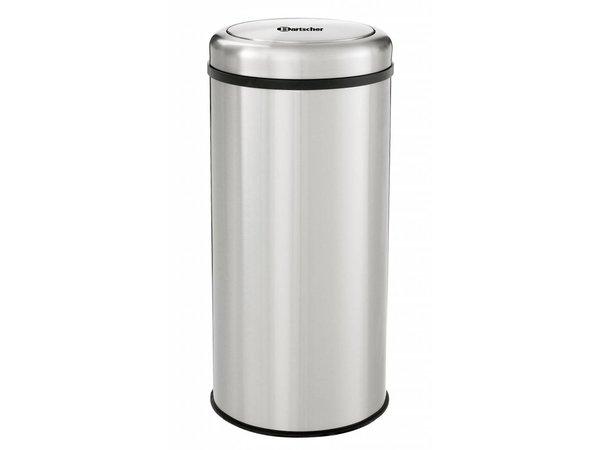 Bartscher Stainless steel waste bin for Hospitality - Tilting lid - 75cm high - 50 liters