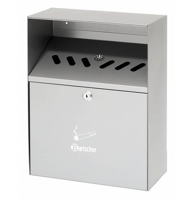 Bartscher Wall ashtray Stainless steel | 6.5 Liter | Easy to Legen | 280x140x (H) 373mm