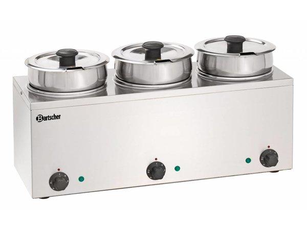 Bartscher Hotpot Bain-Marie   3x3,5 Liter   Stainless steel   0,45kW   610x210x (H) 320mm