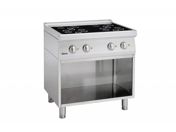 Bartscher Ceramic stove with four cooking zones and open base