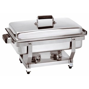 Bartscher Chafing Dish 1/1 GN | Handgreep in Houtskleur | Deksel Vastzetbaar | 620x350x(H)385mm