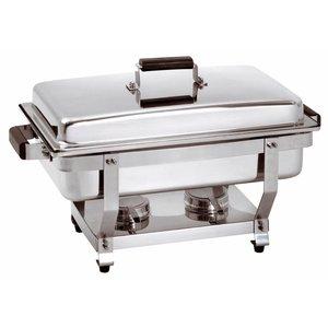 Bartscher Chafing Dish 1/1 GN | Handle in Wood Color | Locking lid Baar | 620x350x (H) 385mm